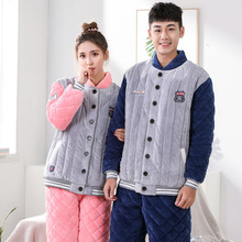 Free Shipping Coral Fleece Couple Pajamas Winter Thick Warm Flannel Cotton Couple Pajama Sets Sleep & Lounge Lovers Sleepwear(China)