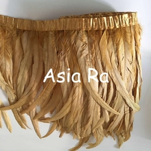 "Asia Ra Gold color cock tail feather trims 30-35cm 12-14"" 1 yard 2 yard 5 yard options rooster feather trimming on satin ribbon(China)"