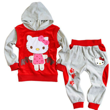 2017 New Spring Autumn Long Sleeved Children Clothing Sets Boys Baby Kids Hello Kitty Clothing Set Girl Suit Toddler Boys Hooded