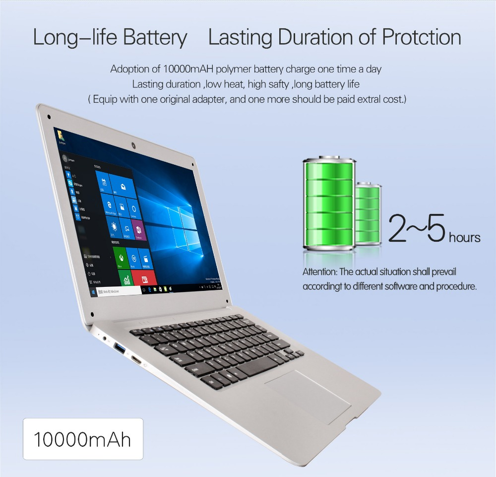 Jumper Original Ultrathin Laptop 14.1 Inch Windows 10 Notebook 1920×1080 FHD Intel Cherry Trail Quad Core 4GB+64GB Computer