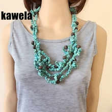 Free Shipping New Statement Chunky Wood Beads Necklace(China)