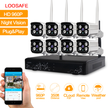 LOOSAFE HD 960P Outdoor Surveillance Camera System 8CH NVR Kit CCTV Home Security Camera System Wireless WIFI IP Camera System(China)
