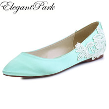 FC1607 Woman Flats Mint Pointed Toe Comfort Lace Appliques Size 7 Satin Lady Girls Bride Wedding Bridal Evening Shoes Women Navy(China)