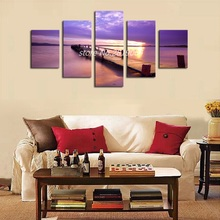 Unframed 5p Purple Sea View Canvas Painting Printed Modern Canvas Wall Art for Wall Pictures For Living Room Home Decor Artwork