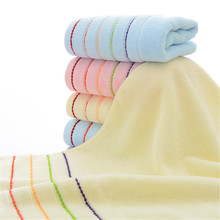 34*73 Cm Towel 100% Cotton Face Towels Striped Pink Blue Yellow Hand Shower Fitness Super Absorbent Home Hotel Wrap Towel(China)