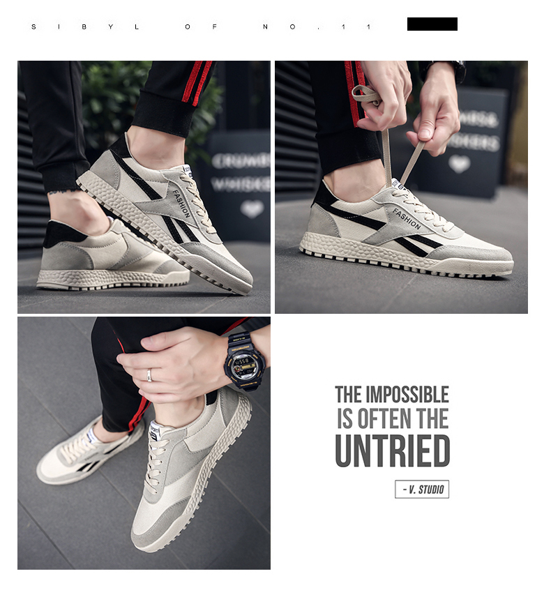 New Fashion Casual Flat Vulcanize Shoes For Men Breathable Lace-up Shoes Footwear Striped Shoes Flax And Cattle Cross Stitching 36 Online shopping Bangladesh