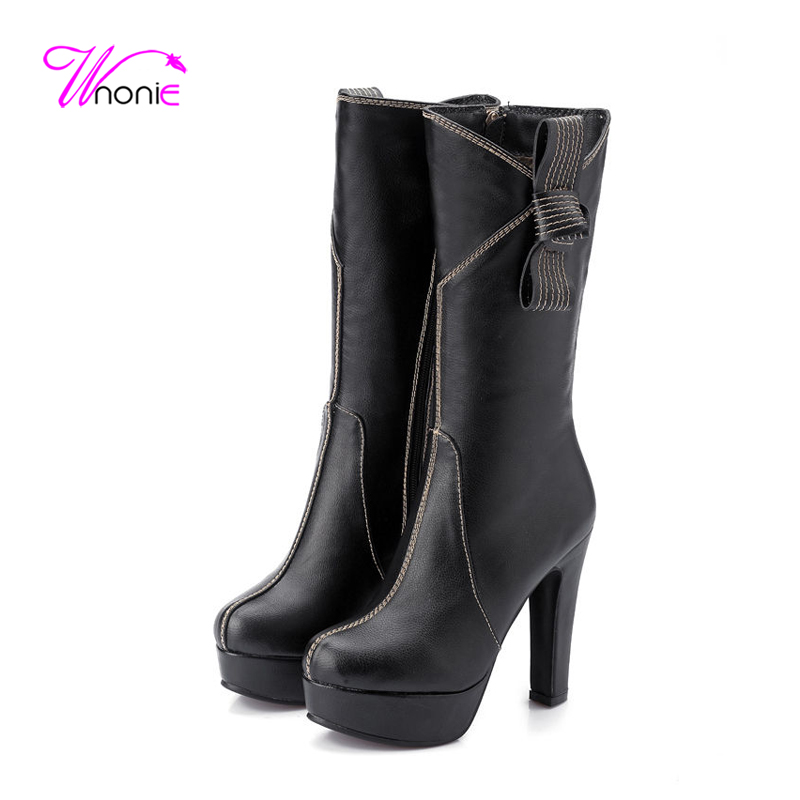 2017 Women Shoes Mid-calf Boots Half Boots Thick High Heel Boots Platform Round Toe Zipper Dress Party Sexy Winter Ladies Shoes<br>