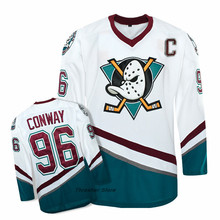 The Mighty Ducks Moive Charlie Conway White/Green/Purple Retro Stitched Ice Hockey Jerseys Sewn Camisa Throwback