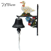 KiWarm New Vintage Castle Style Rusted Duck Cast Iron Door Bell Wall Mounted Garden Decoration Ornament Craft(China)