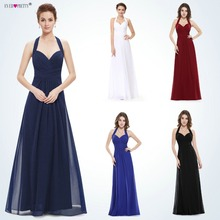 Buy Sapphire Blue Prom Dress Line Ever Pretty New Arrival Sexy Empire Halter Long Maxi EP08487 Sleeveless Long Prom Dresses 2018