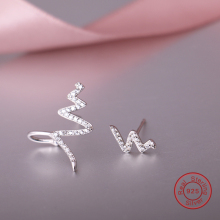 Solid 925 Sterling Silver Luxury CZ Crystal Stud Earrings Asymmetric Wave Design Earring For Women Girl Ear Jewelry Gift DE180