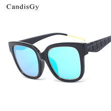 Oversized Mirror 2016 New Fashion Sunglasses Big Frame Women Mirror Shades UV400 Sun Glasses Lady Lady Cube Grid Male Female(China)