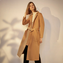Double faced women wool overcoat autumn and winter handmade high quality camel slim long design double faced cashmere