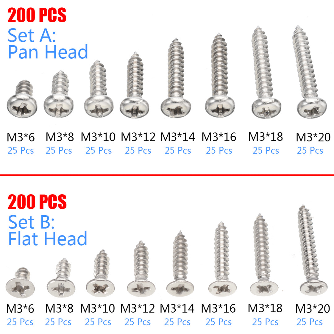 M4,6mm-70mm 304 Stainless Steel Self Tapping Screws Phillips Truss Head Screws
