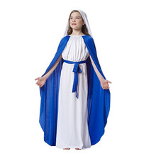 Children Girls Blue And White Virgin Mary Cosplay Costume Drama Missionary Costumes Kids Halloween Party Dress Supplies(China)