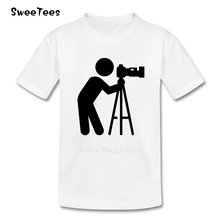 Camera Logo Photographer Children T Shirt Infant 100% Cotton Boy Girl 2017 T-shirt Round Neck Kid Tshirt Toddler Garment