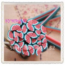 a-04 Free Shipping 100pcs 5mm Triangle Watermelon Shape Fruit Cane Fancy Nail Art Polymer Clay Cane(China)