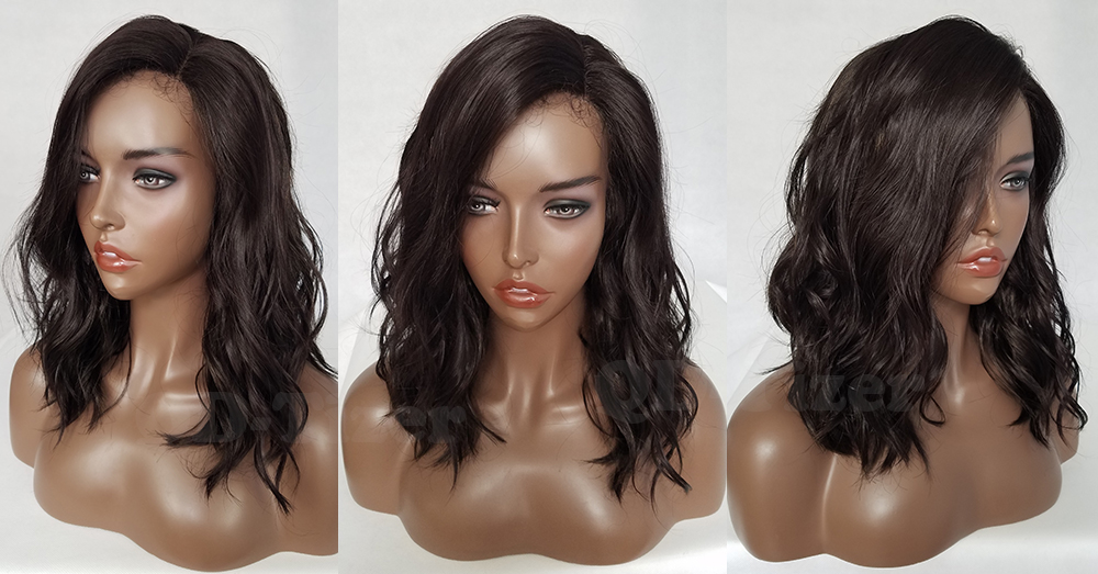 QD-Tizer Short Wavy Hair Dark Brown #4 Color Bob Lace Wigs Glueless LOB Synthetic Lace Front Wigs for Fashion Women5