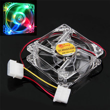 Factory Price BinmerColorful Quad 4-LED Light Neon Clear 80mm PC Computer Case Cooling Fan Mod Drop Shipping Wholesale