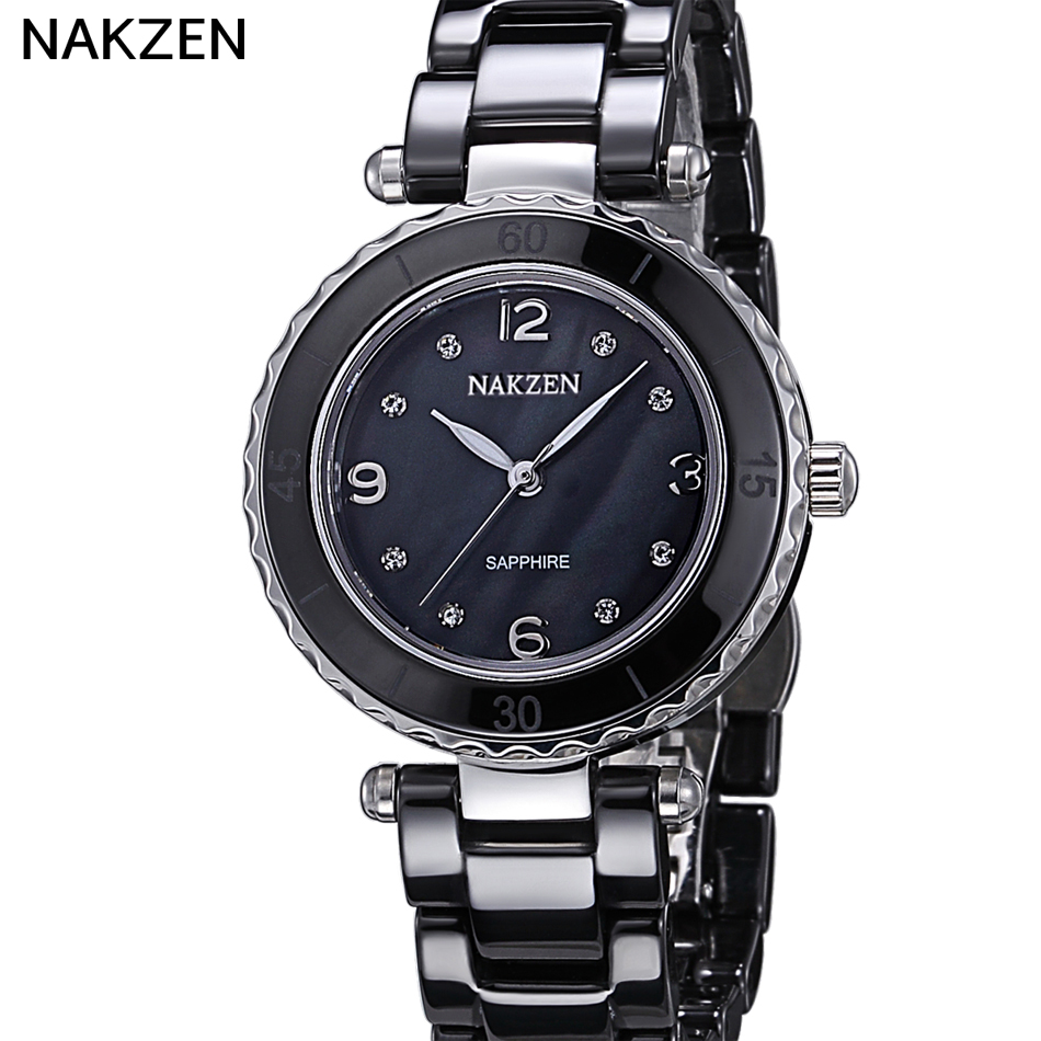 2017NAKZEN Top Brand Luxury Black Authentic Diamond  Quartz Watch Waterproof Ladies Switzerland Import Movement Watch<br>