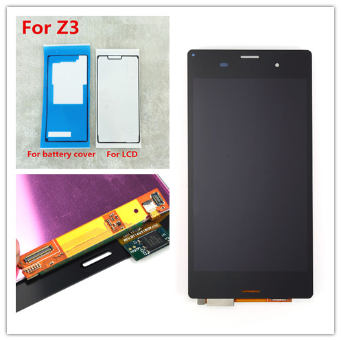white Black Sony Xperia Z3 D6603 D6643 D6653 D6633 L55t LCD Display Touch Digitizer Screen Assembly+ Sticker