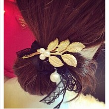 Greek Style Retro Golden Pearl Leaves Side Hairpin Hair Clip Female JWD59
