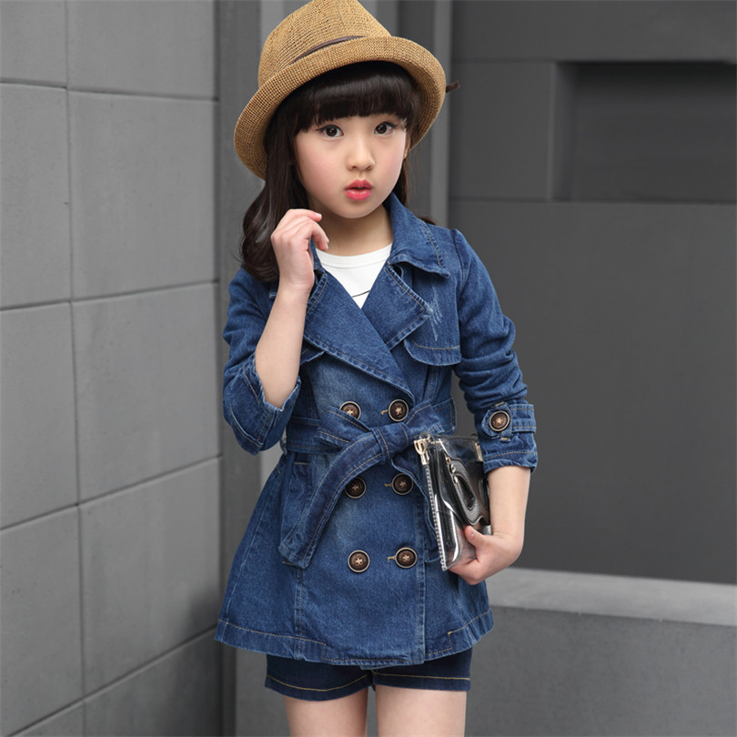 2017 Fashion Jacket Children Spring New Double-Breasted Lapel Solid Color Lace College Wind Long Section Girl Cowboy Jacket<br><br>Aliexpress