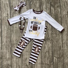 on sundayswe watch football with daddy children clothes Fall baby girls outfits brown boutique striped pant matching accessory