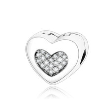 Fit Original Pandora Charm Bracelets & Necklaces 100% 925 Sterling Silver Steady Heart Stopper Clip Charms Beads DIY Accessories(China)