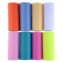 Colorful 6 Inch x 25 Yards Polyester Fabric US network yarn Roll Tulle Skirt Party /Weeding Gift Decorative Supplies