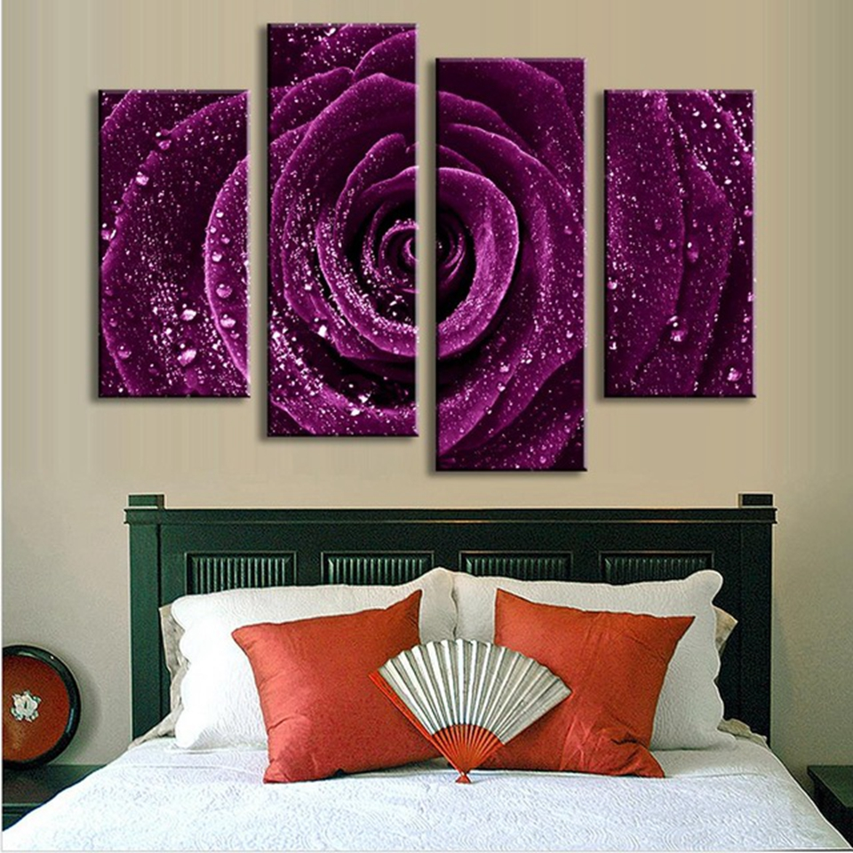 4-Pcs-Set-Flower-Purple-Rose-Raindrops-Canvas-Prints-Painting-Classical-Purple-Flower-Wall-Picture-for.jpg_640x640