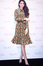 New 2017 Summer Dress Women Turn-down Collar Sweetheart Prints Full Sleeve Ruffles Mermaid Casual Dress Day Love Ladies Clothes
