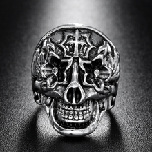 1 Pcs New Gothic Rock Stainless Steel  Ring Fashion Flower Totem Punk Style Skull Head Ring Men's Jewelry