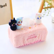 Candice guo plush toy stuffed doll kitten cartoon sailor moon girl papa cat Luna kitty tissue box paper cover birthday gift 1pc