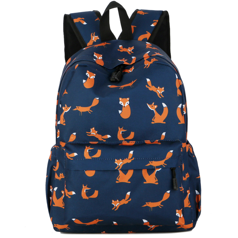 Fox Printing Backpack Women Carton rabbit Bookbag Cute penguin School Bag  for Teenage Girls Fashion abstract 7f951ee9e7565