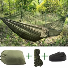 (Green) Extra High Portable Strength Fabric Mosquito Net Camping Hammock Lightweight Hanging Bed Durable Packable Travel Bed(China)