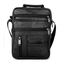 Dreamlizer Real Cowhide Leather Men Handbags Black Male Messenger Bags Men's Small Strap Adjustable Briefcase Man Crossbody Bags(China)