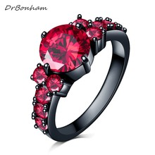 Fashion Flower Shiny Red Ring Red Garnet Women Charming Engagement Jewelry Black Gold Filled Promise Rings Bijoux Femme DR1711(China)