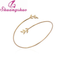 Min 1Pc 2016 New Fashion Spring Hot Open Love Leaf Bangle Bracelet for Women Simple Plant Bangles Party Gift SZ054