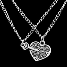 New Arrival 1 Pair Heart Lock Key Pendant Charm Necklace Best Friends Lovers Couple Necklace Antique Silver Gift