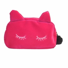 Lady Cosmetic Bag Pouch Makeup Bag Women Cosmetic Makeup Case Travel Organizer Cute Cat Organizador(China)