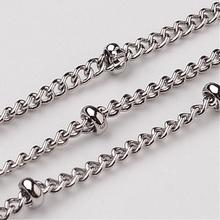 316 Stainless Steel Twisted Chains Curb Chain, Decorative Chain, with Rondelle Beads, Stainless Steel Color, 2mm,10m/lot