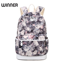 Winner Brand Unique Printing Backpack Women Floral Bookbags Waterproof Canvas Backpack Schoolbag for Girls Rucksack Casual(China)