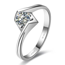 18K White Gold Plated Propose Jewelry 0.6CT Engagement Ring Sterling Silver PT950 Stamped Solitaire Simulate Diamond Ring Girl(China)