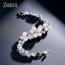 ZAKOL Luxury Marquise Cubic Zircon Bracelets & Bangles WithSliver Color Simulated Pearl For Women Wedding FSBP132(China)