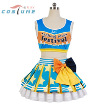 LoveLive! Love Live Rin Hoshizora Cheerleaders Uniform Vest Top Skirt Anime Halloween Cosplay Costumes For Women Custom Made