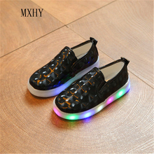 MXHY latest fall LED Glowing Luminous Shoes Children Shoes With Light Up Sneakers For Kids Boys&Girls fashion casual shoes new
