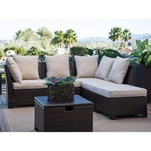 2016 High quality wicker outdoor furniture high back rattan sofa set