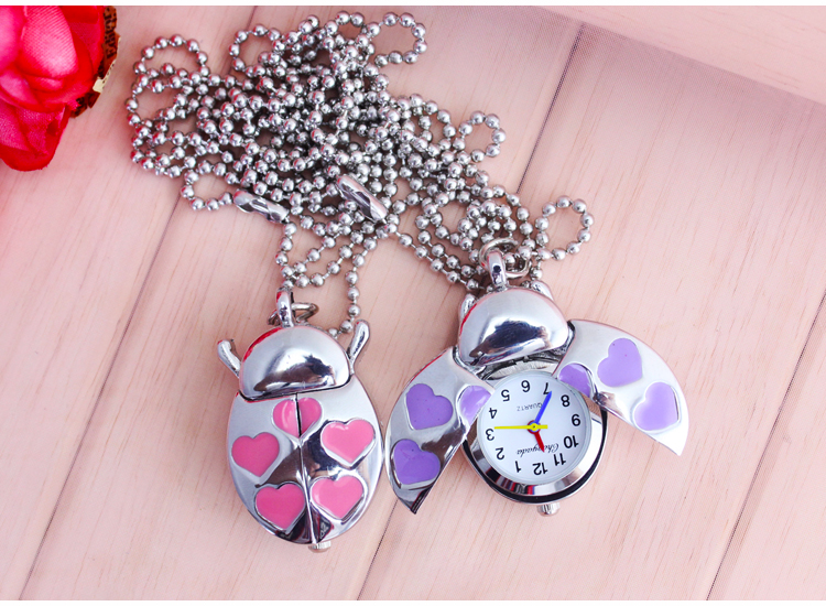 1pcs/Lot Red Ladybug Beetle Necklace Pendant Pocket Quartz Watch Chain Battery including heart girl gift <br><br>Aliexpress