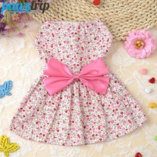 Cute Dog Dress Summer Soft Cotton Printing Bow Pet Puppy Clothes
